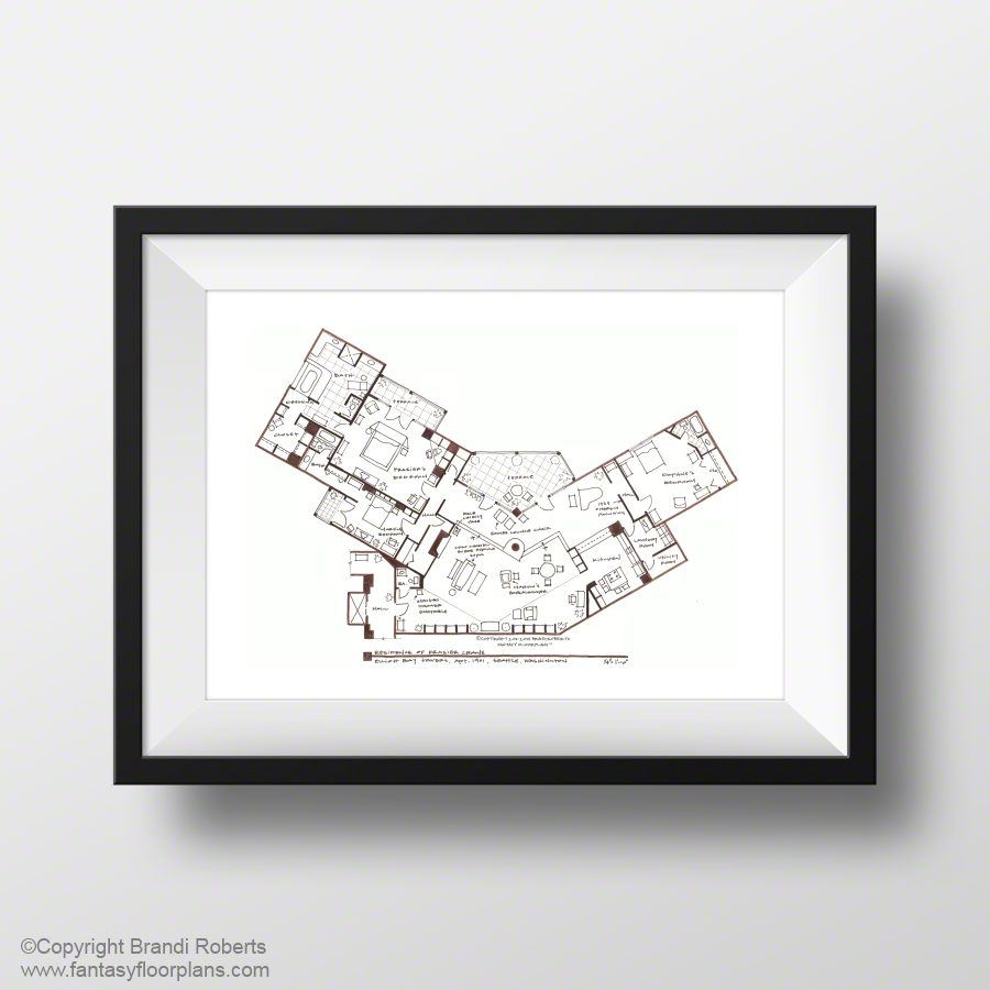 fantasy floorplan original hand drawn sketch for frasier