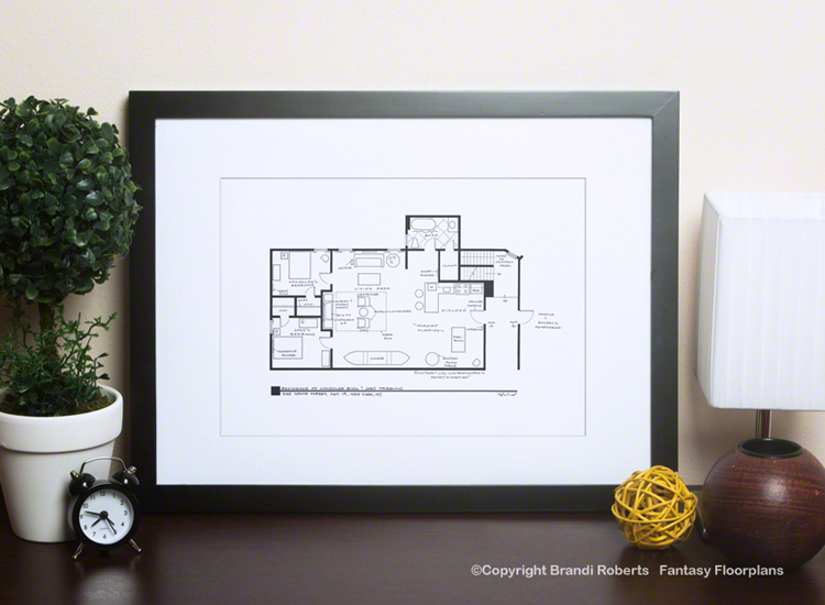 TV show floor plan for Joey and Chandler's Apartment