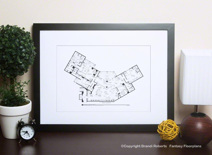 Frasier Floor Plan Poster Of Crane S Apartment Fantasy Floorplans