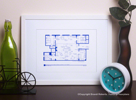 Set Of 4 How I Met Your Mother Apartments Floorplans For Ted Lily Marshall Robin Barney