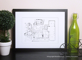 Charlie Harper house layoutTwo and Half Men house floor plan image  Blueprint Frame not included