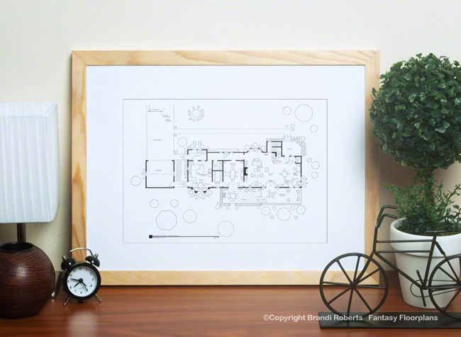 Family Ties house Layout   Buy a Poster of the Keaton's floor plan on