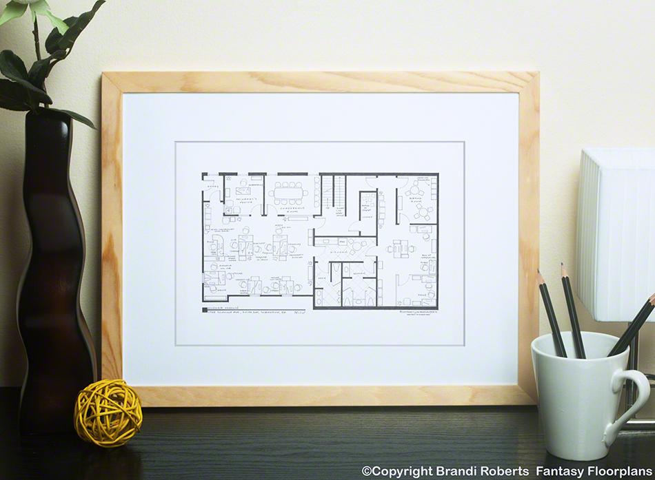 The Office Dunder Mifflin Floor Plan Poster