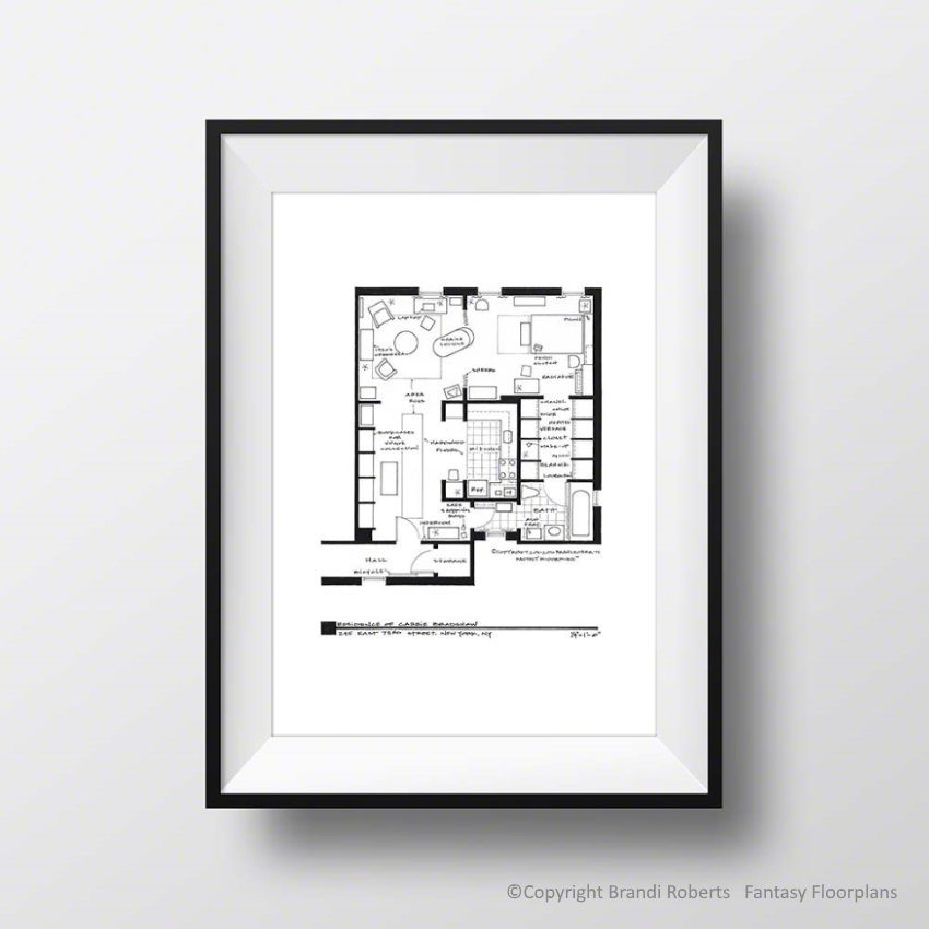 Carrie Bradshaw Apartment Address: Set Of 5 Floorplan Posters For Apartments Of Mr. Big
